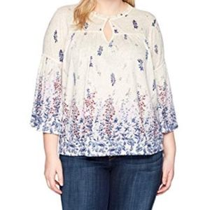 Lucky Brand 2X Border Print Peasant Top Bell
